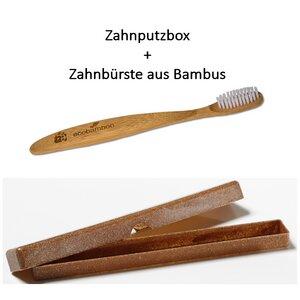 Zahnputzbox mit Zahnbürste aus Bambus - Saling Naturprodukte