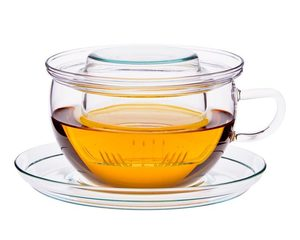 Teetasse TEA TIME - Glasfilter + Unterteller, 0.4l - Trendglas Jena