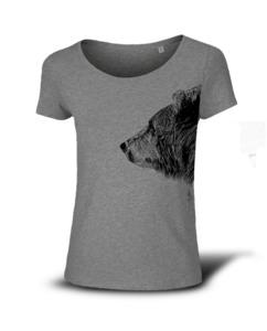 Kommabei Damen T-Shirt Bruder Bär grau - Kommabei