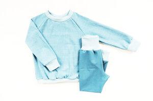 Kinder Schlafanzug Bio Baumwolle rauchblau Gitter - betus