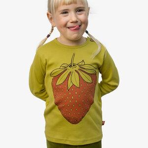 Erdbeer Langarmshirt für Kinder in antique moss - Cmig