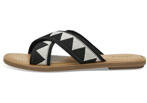 Black Geometric Women's Viv Sandals - Toms