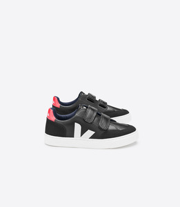 V-12 KIDS VELCRO LEATHER BLACK WHITE PIERRE - Veja