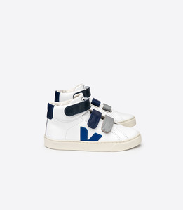 ESPLAR MID KIDS LEATHER EXTRA WHITE BLUE VELCRO - Veja