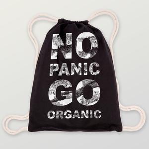 'No Panic' Turnbeutel aus BIO-BAUMWOLLE  - shop handgedruckt