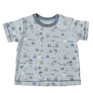 Jungen Kurzarmshirt hellblau bedruckt Bio Baumwolle People Wear Organic - People Wear Organic
