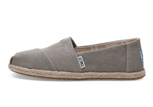 Drizzle Grey Washed Canvas Espadrilles  - Toms