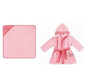 Set Kapuzenbadetuch + Kinderbademantel mit Kapuze Pony rosa 100 % Bio- Baumwolle   - EGERIA