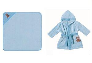Set Kapuzenbadetuch + Kinderbademantel mit Kapuze bleu Bär 100 % Bio- Baumwolle   - EGERIA