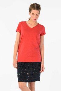 HAMAZAZPI V-Neck Shirt - Coral/Red Melange - skunkfunk