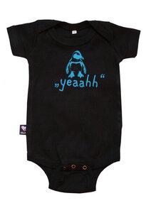 Bio-Babybody kurzarm 'Yeah! ...sagt der Pinguin' schwarz - Hirschkind