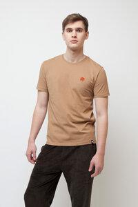 THYMUS, T-Shirt mit edler Stickerei für Männer Camel - Green-Shirts