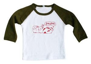 "Bio-Baseballshirt langarm ""Punk-Rock""  in weiß-olive - Hirschkind"