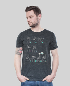 Shirt Men Dark Heather Grey 'Say It Loud' - SILBERFISCHER