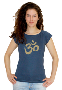 "Bio-Bambus-Viskose Shirt ""Om"" - Peaces.bio - EarthPositive® - handbedruckt"