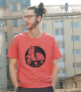 Retro Schaltroller - Männer T-Shirt - Heather red - päfjes