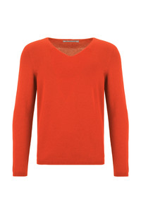V-Neck Merino Strickpullover Orange  - ACHAHHA®