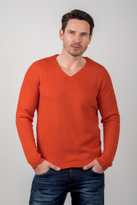 V-Neck Merino Strickpullover Orange  - ACHAHHA®