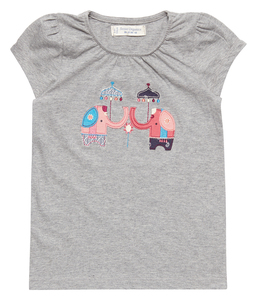 Mädchen Shirt grau mit Applikation 100% Bio Baumwolle - sense-organics