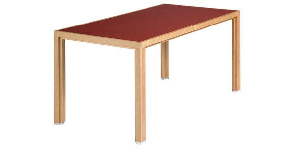 Alvari tisch aus l rchen vollholz mit roter linoleum for Tisch vollholz design
