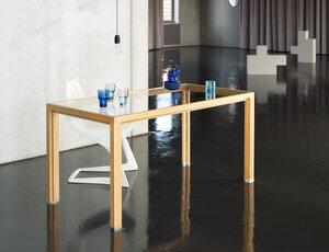 alvari-Esstisch aus Lärchen-Vollholz mit Glasplatte im alvari-Design - alvari