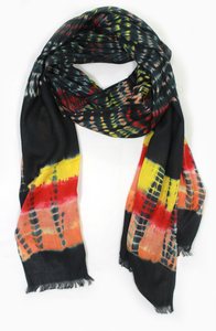 Tuch 'Batik in SCHWARZ-ORANGE-GELB-PINK' - fair produziert, per Hand hergestellt - Majana