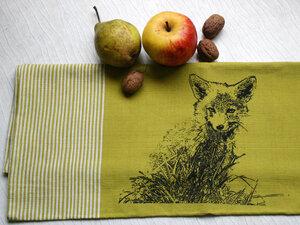 Fair-Trade-Geschirrtuch 'Junger Fuchs' grün - Hirschkind
