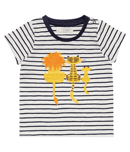 Baby Shirt blau geringelt mit Applikation Bio Sense Organics - sense-organics