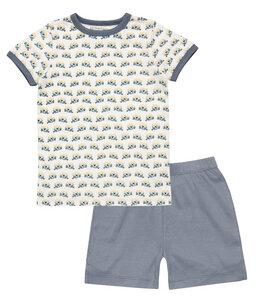 Jungen Schlafanzug kurz grau creme Öko Sense Organics - sense-organics