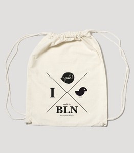 "Bio Gym Bag Natural ""Hipster Yeah"" - SILBERFISCHER"