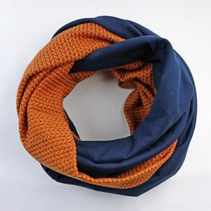 Strick-Jacquard Loop Navy-Orange - Gary Mash