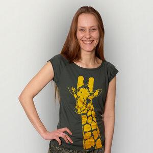 'Stefanie la Girafe' Bamboo Jersey T-Shirt  - shop handgedruckt