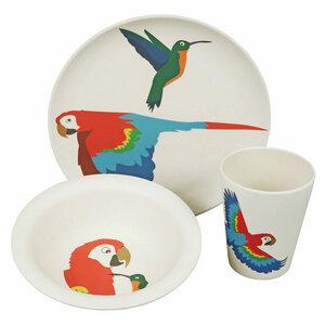 3-tlg Kindergeschirr-Set Papagei - Zuperzozial