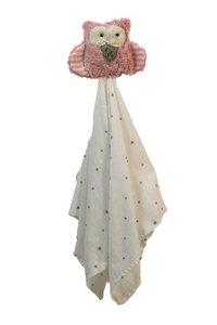 "Schmusetuch, Greifling ""Eule"", Farbe: rosa, 100 % Baumwolle-kbA - PAT & PATTY"