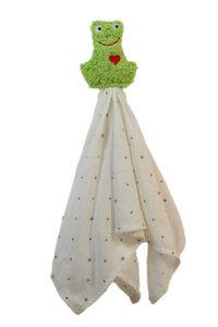 """Schmusetuch, Greifling """"Frosch"""", Farbe: hellgrün 100 % Baumwolle-kbA - PAT & PATTY"""