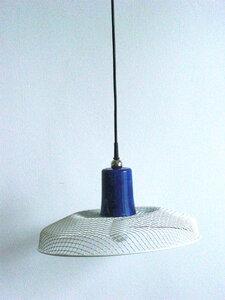 "Leuchte ""blue"" aus weissem Metallgitter - made by roswitha marien"