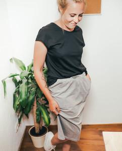 Damen Midirock mit Taschen   Sinum   grau meliert - Degree Clothing