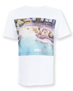 Herren T-Shirt Druck Hawaii | Drone Beach | weiß - Degree Clothing