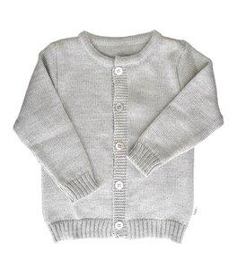 Baby und Kinder Strickjacke grau kbT Merinowolle - iobio
