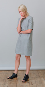 GRAZIA Dress - Grey Pinstriped - Frieda Sand