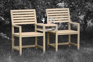 Gartenbank, Zweisitzer - Sitz-Tisch-Kombination aus Lüneburger Eichenholz - Livendor
