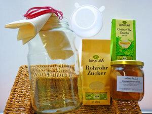 Kombucha - Komplettpaket für 2,5 Liter: Bio Kombucha mit Zubehör - Wellness-Drinks