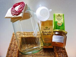 Kombucha - Komplettpaket Deluxe für 4 Liter: Bio Kombucha mit Zubehör - Wellness-Drinks