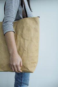 Kraft Papier Tote Bag: Schulter Tasche, nachhaltig, Lederoptik - BY COPALA