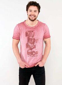 Raw-edge T-Shirt aus Bio Baumwolle mit Kameramotiv - ORGANICATION