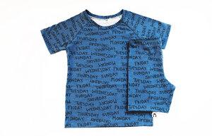 Kinder Sommer Schlafanzug Bio Baumwolle blau Wochentage - betus