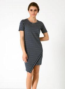 Gestreiftes Kleid aus Bio Baumwolle mit Asymmetrischem Saum - ORGANICATION