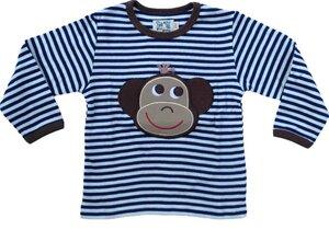 "Langarmshirt ""Affe"" ,blau/natur-gestreift, 100 % Baumwolle (kbA) - PAT & PATTY"
