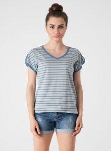 Gestreiftes T-Shirt mit V-Ausschnitt und längerem Rückenteil - ORGANICATION
