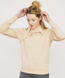 Sweatshirt in ökologischer Baumwolle mit tropfenförmigem Ausschnitt - Endlich